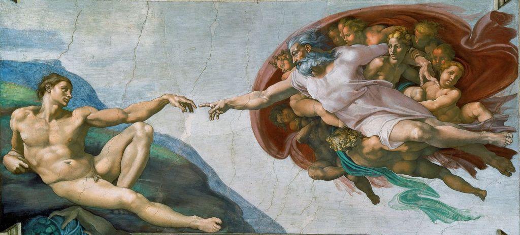 A Criação de Adão, afresco de Michelângelo pintado no teto da capela Sistina, no Vaticano